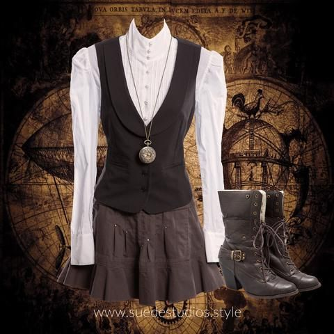 Suede Studios Style: mixes Mainstream with Steampunk to create 'Streampunk.' This montage features: Rounded Lapel Waistcoat, Ermis Pintuck Blouse, Stud Skirt, Wooly Lined Convertible Boots. www.suedestudios.style