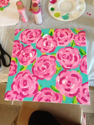 Lily will love this---Krafty Kellzster: DIY: Lilly Pulitzer First Impressions Canvas