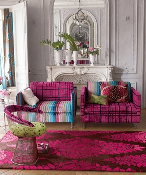 Tricia Guild world...love the vibrant fabrics and placement on these pieces.