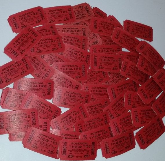 35 Red 25 cent theater tickets Rosendahl Indianapolis MO art mixed media vintage paper supplies lot ephemera