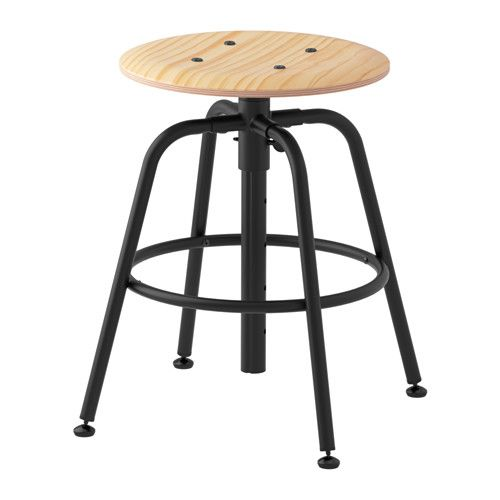 "KULLABERG Stool IKEA You sit comfortably, because the stool can be easily adjusted to 5 different heights approximately 18, 21, 22, 25, and 27""."
