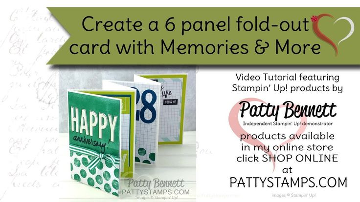 How to make a 6 panel fold-out card using Stampin Up Memories & More cards