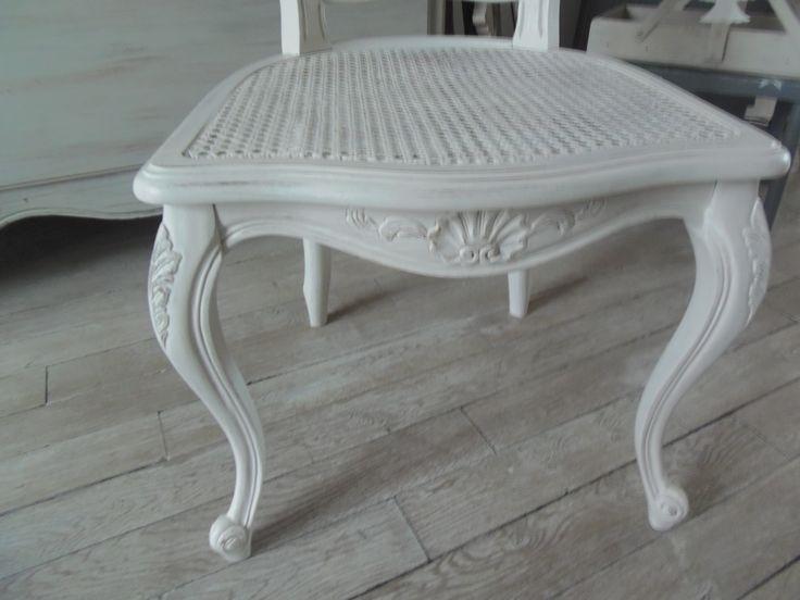 4 chaises style louis xv cann es atelierdes4saisons patin es gris perle blanc poudr le charme - Chaises louis xv cannees ...