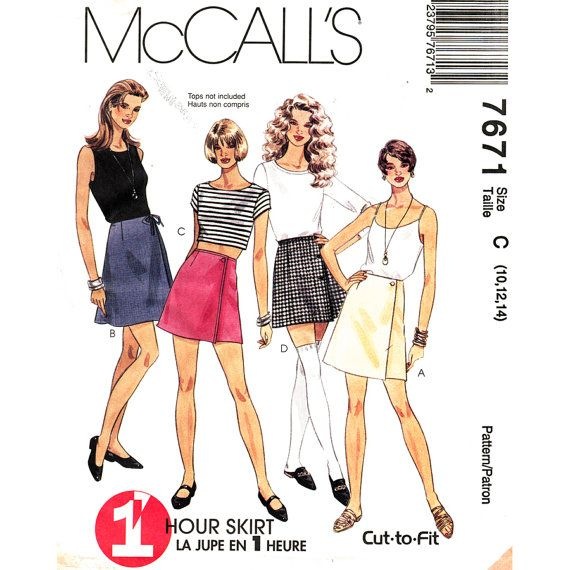 Wrap Skirt Pattern McCalls 7671 Easy 1 Hour Skirt A Line Wrap Skirt Mini & Micro Mini No Waistband Womens Sewing Pattern Size 10 12 14 UNCUT