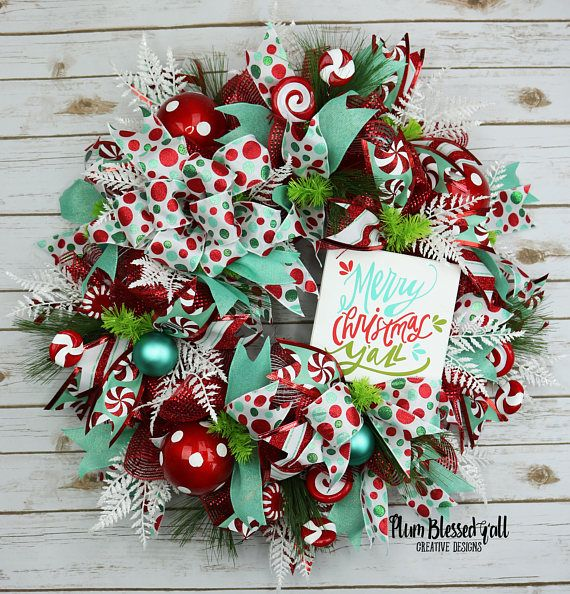 Merry Christmas Y'all Wreath, Deco Mesh Christmas Wreath, Red Turqoise Wreath, Front Door Christmas Wreath, Candy Cane Wreath, Holiday Decor