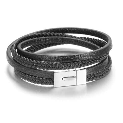 Leather and Stainless steel bracelet by Six Continent Nomad of Sweden LAKOTA
