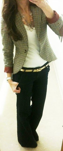 black and white button up pants, white top, black blazer, chunky pink/green necklace or black pants, white top, brown/blacket jacket, gold belt