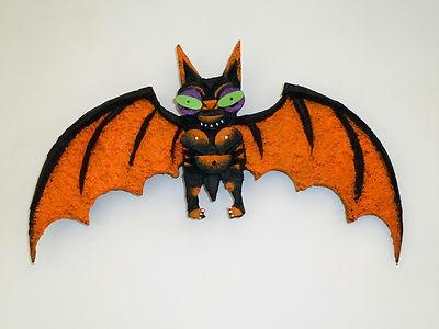 halloween bat vintage style folk art cork carving outsider decoration - Vintage Style Halloween Decorations