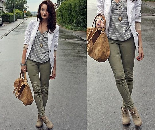 Blazer shirt jewelry jeggins wedges how to wear - Olive green and grey ...
