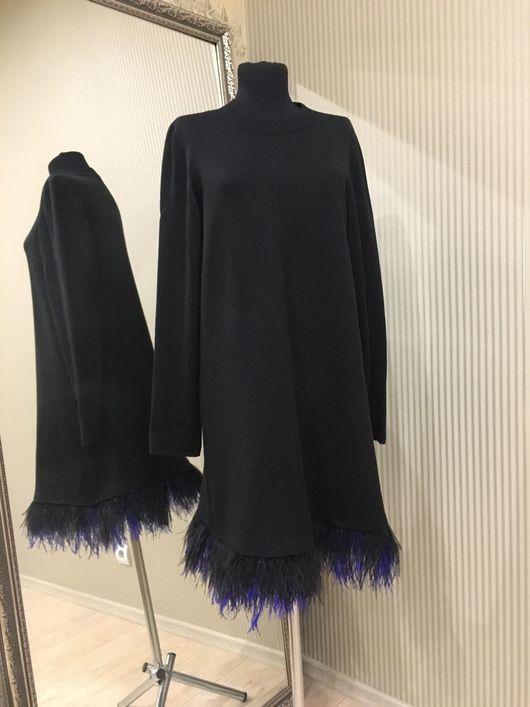 Платья ручной работы. Платье с перьями страуса , платье трапеция. Vyazanieksi. Интернет-магазин Ярмарка Мастеров. Платье коктейльное, полубусины