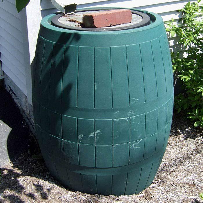 A traditional rain barrel stores storm-water runoff.