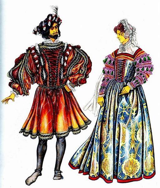 Французский женский костюм 17 века