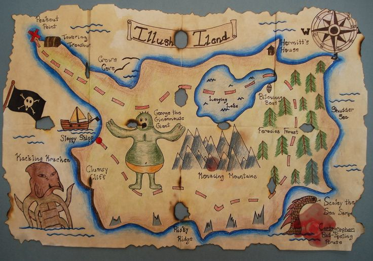 Pirate Treasure Map | This student burnt some holes and added drips of melted candle wax to ...