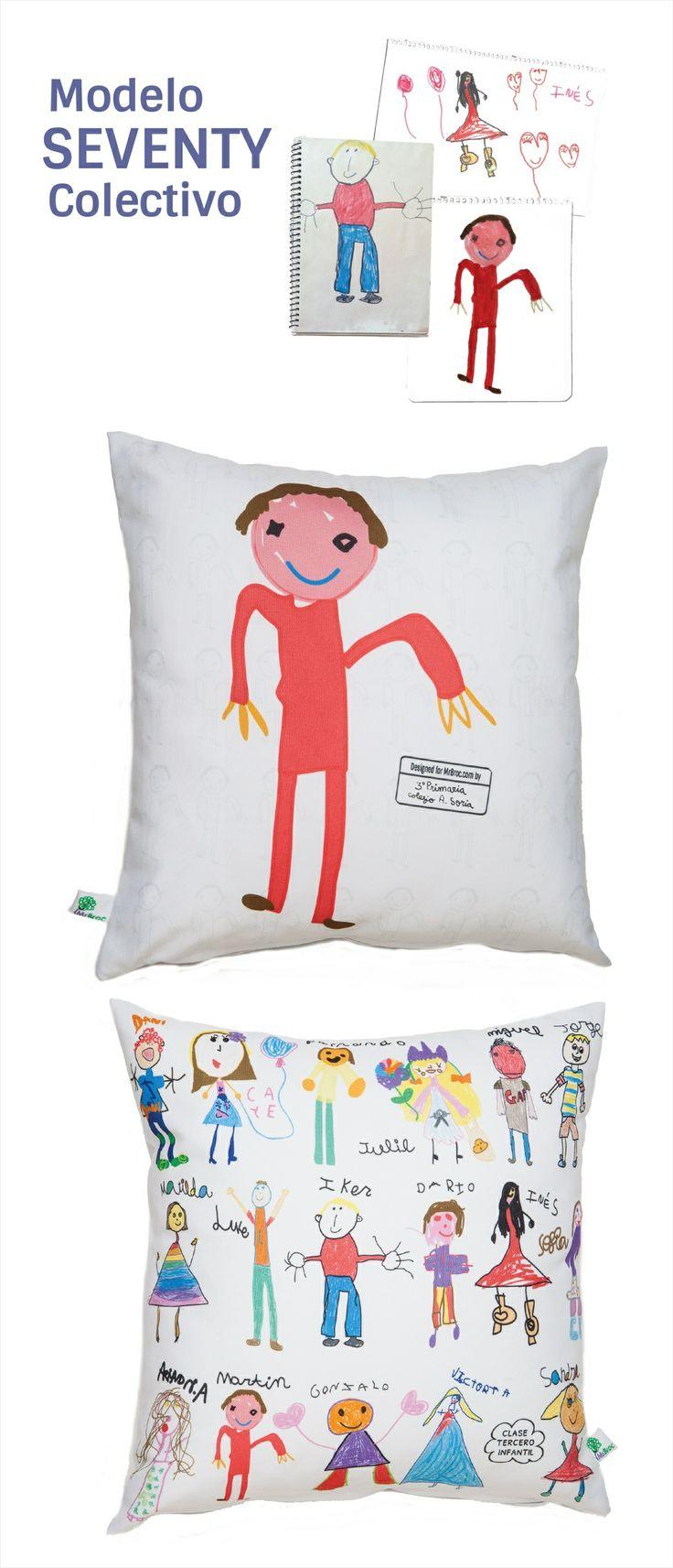 Un cojin personalizado con los dibujos de sus niños: ¿no es un regalo perfecto y único para el profe?