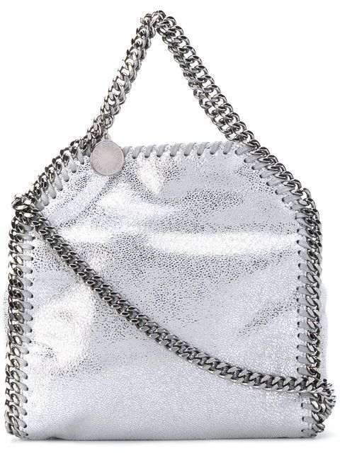 STELLA MCCARTNEY tiny Falabella tote. #stellamccartney #bags #tote #leather #lining #metallic #shoulder bags #hand bags #cotton #