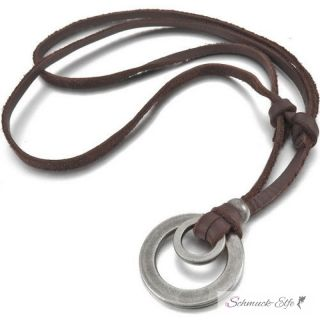 Anhänger Ringe antik silber  inkl. verstellbarer Leder...