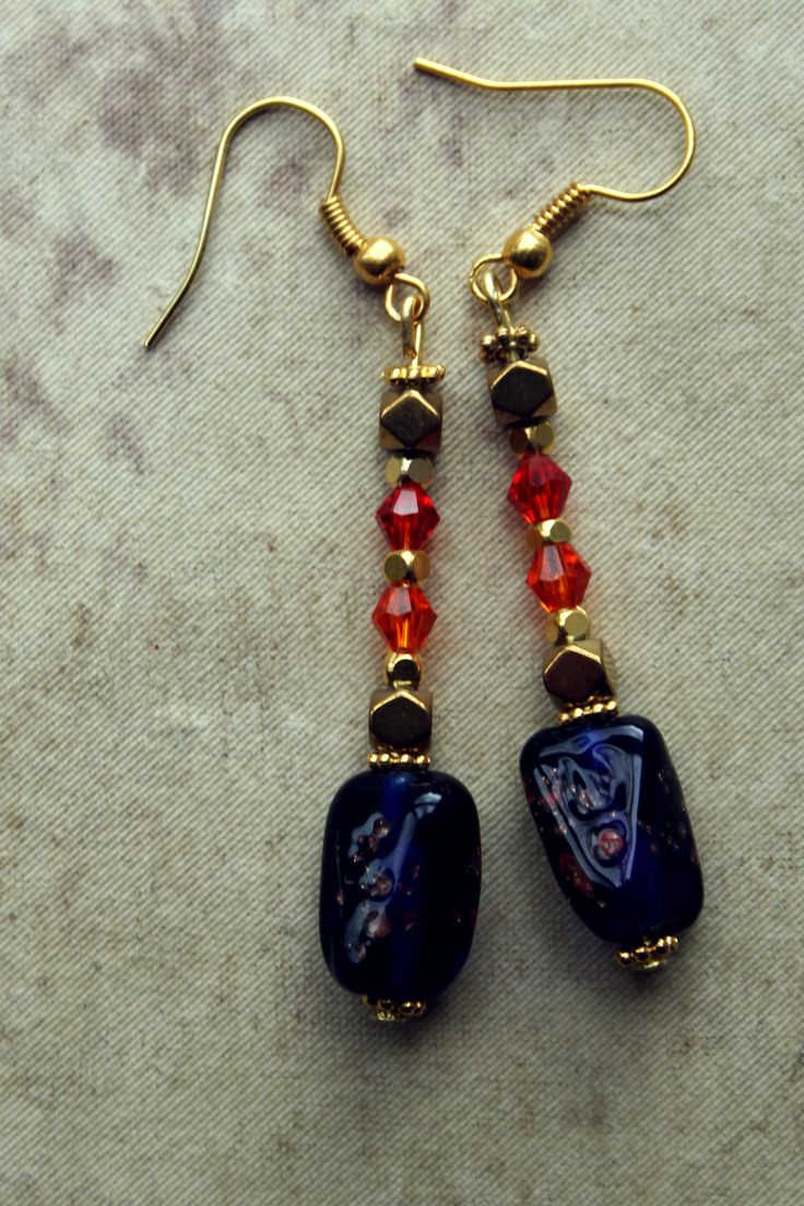 Earrings with natural and crystal beads