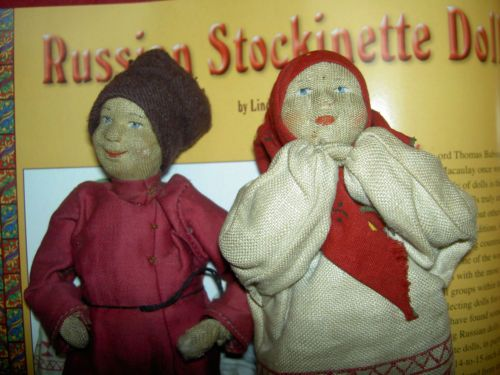 PAIR-1920s-Russian-Soviet-Union-lb-039-d-034-Peasant-Boy-amp-Girl-034-stockinette-cloth-dolls