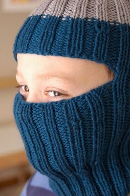 Seriously.: In which I knit a Balaclava and force my children to model it for me