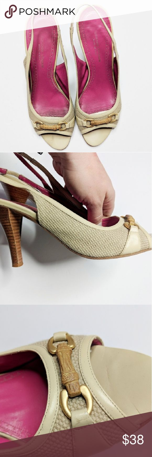 ADRIENNE VITTADINI canvas leather slingback heels Adrienne Vittadini Italian leather slingback heels, peep toe with engraved bone detail on vamp. Pink leather interior, stacked wooden heel, leather sole. Adrienne Vittadini Shoes Heels