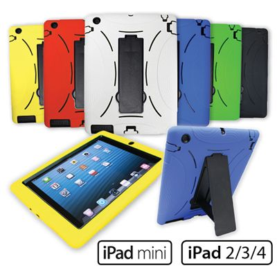 iPad Slim Tough Case iPad 2, iPad 3, iPad 4, and mini iPad. Slim tough case for schools. Fits in most charging carts. In Red, Blue, Yellow, White and Green. Essential back to school item.