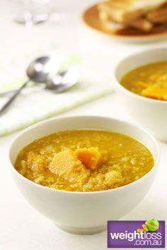 Healthy Soup Recipes: Pumpkin & Red Lentil Soup. #HealthyRecipes #DietRecipes #WeightlossRecipes weightloss.com.au