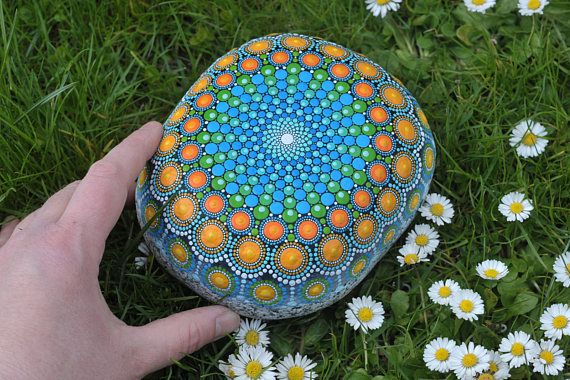 Dream reader  hand-painted stone  mandala