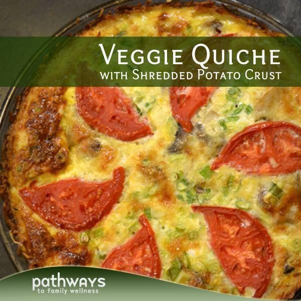 Veggie Quiche (with Shredded Potato Crust!) - http://recipes.pathwaystofamilywellness.org/