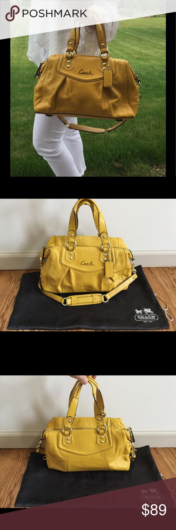 Genuine Leather Coach Satchel Genuine leather - barely used - beautiful mustard yellow color - gold hardware - convertible shoulder strap - two top handles - working zipper closure- two open pockets inside - one working zipper pocket inside - dust bag included - smoke free home - no trades Coach Bags Satchels