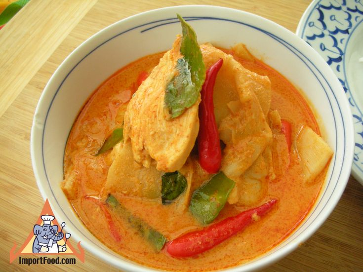 Authentic Thai recipe for Red Curry Chicken with Bamboo Shoot from ImportFood.com.