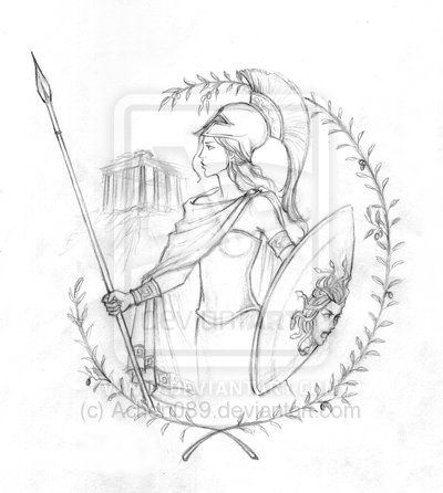 Athena Sketch by ~Achen089 on deviantART. This is the tattoo I'm getting on my arm, minus the Acropolis in the background.