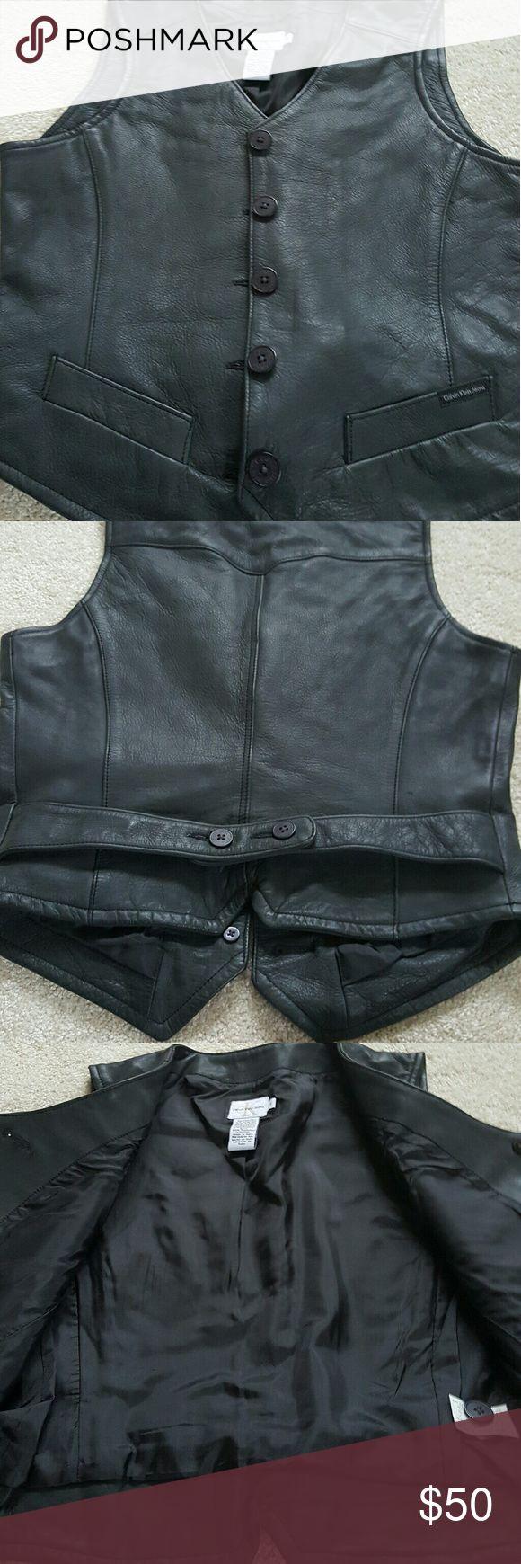 Calvin Klein vest Calvin Klein leather vest Calvin Klein Jackets & Coats Vests