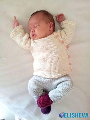 Кардиган для новорожденного от PEKAPEKA design studio, вязаный спицами