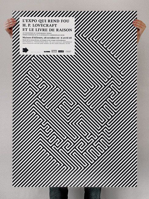 illusion poster for an exhibition to commemorate the 70fh anniversary of H.P. Lovecraft's death  by Julien Notter + Sébastien Vigne