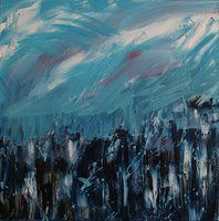 Blue Town, Oil on canvas, 50 x 50, February 2011 Created by Philippe Laferriere