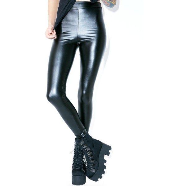 Veggie Leather Leggings ($38) ❤ liked on Polyvore featuring pants, leggings, thick leggings, leather leggings, high waisted leather leggings, white high waisted pants and high-waisted leggings