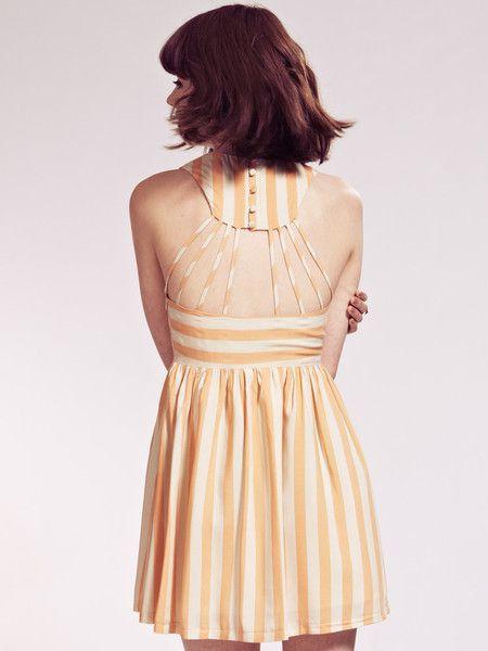 Octavia Orange Stripe Dress with Back Strap Detail