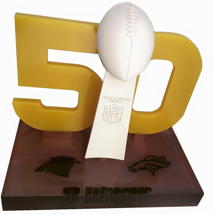 Using #SOLIDWORKS and #Stratasys #3Dprint technologies, this #SB50 trophy was created using a #Fortus40 and #Connex3. #GoEngineer #SuperBowl50 #Football