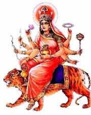 Kushmanda – In this form Durga is eight-armed and rides on a tiger. She holds kamandalu, bow, arrow, lotus, pot containing wine, disc, rosary and a club. She is very happy in this form and it is believed that the eternal darkness ended when she smiled. And this led to the beginning of creation. Kushmanda form of Durga is worshipped on fourth day of Navratri.