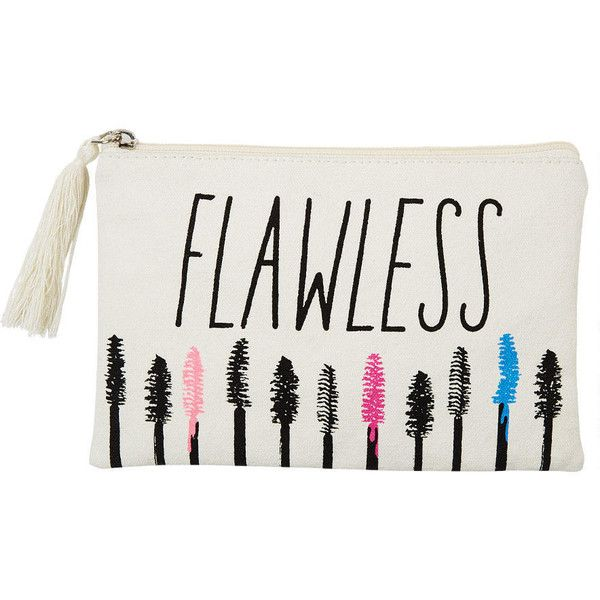 "Keep your beauty essentials in this fun, zip-up make-up bag. Perfect for throwing in your purse. Features ""Flawless"" at front."