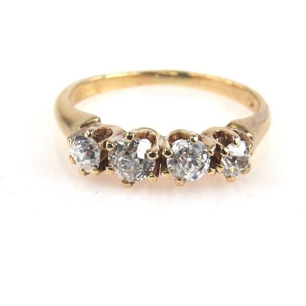 yellow gold diamond 4 stone ring 06 tcw 675 liked on polyvore featuring - Wedding Rings Gold