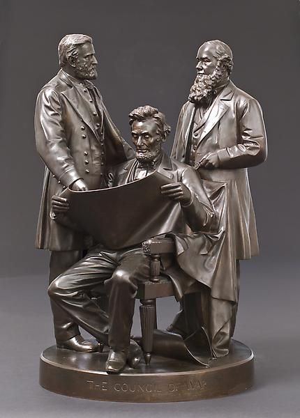 Council of War by John Rogers.This plaster -like piece was very popular and found in many homes of veterans past the turn of the century. Robert Todd Lincoln considered this the best depiction of his father.