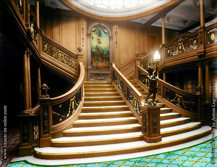 titanic in color the grand staircase olympic titanic