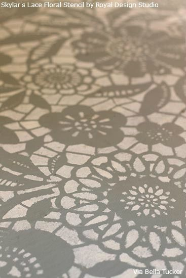Close-up of Skylar's Lace Floral Stencil from Royal Design Studio VIA Bella Tucket Stenciled floor tips below pic on site