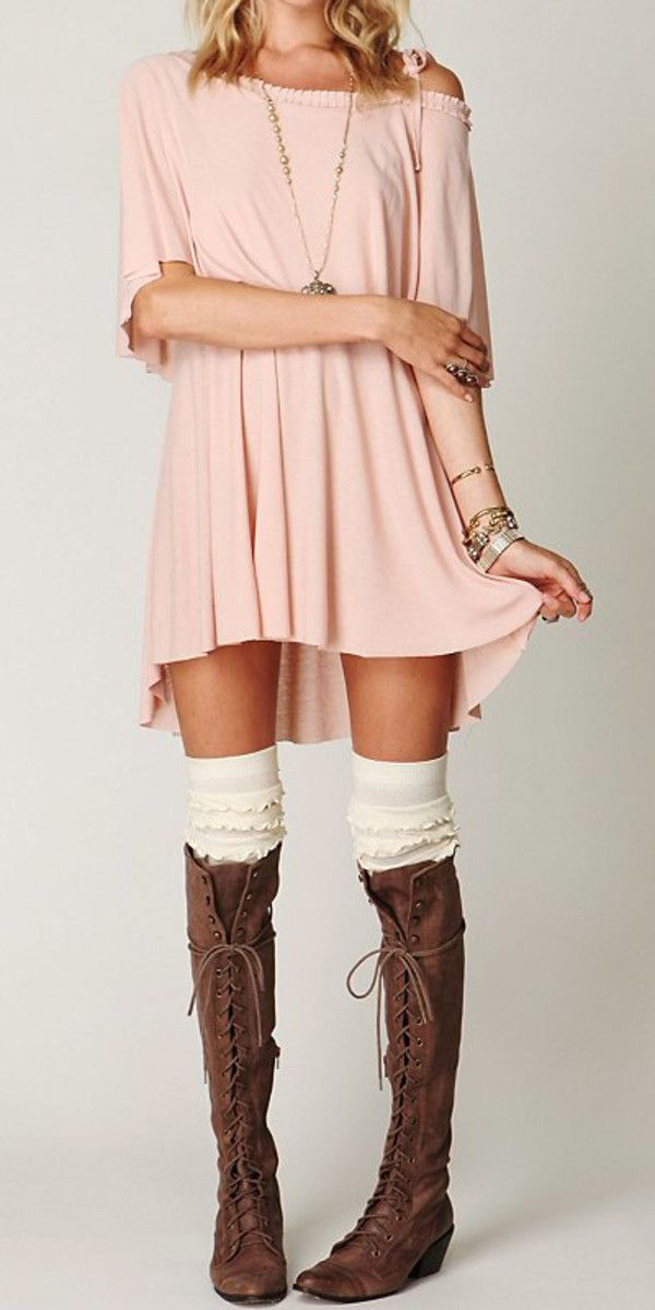 Off the shoulder dress, Knee high socks & Knee high lace up boots, but I'd add leggings