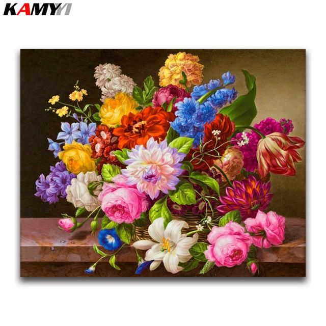 DIY Diamond Painting Craft Pottery Flower 5D Embroidery Cross Stitch Mosaic Home
