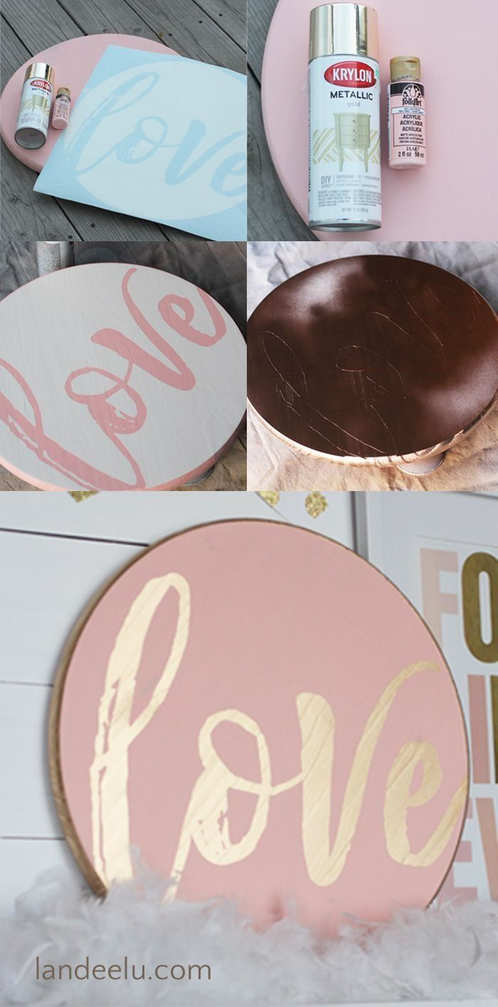 An easy and totally customizable Valentine's Day sign that you can make in about an hour (including dry time!). The pink and gold combination is a pretty decoration or gift.