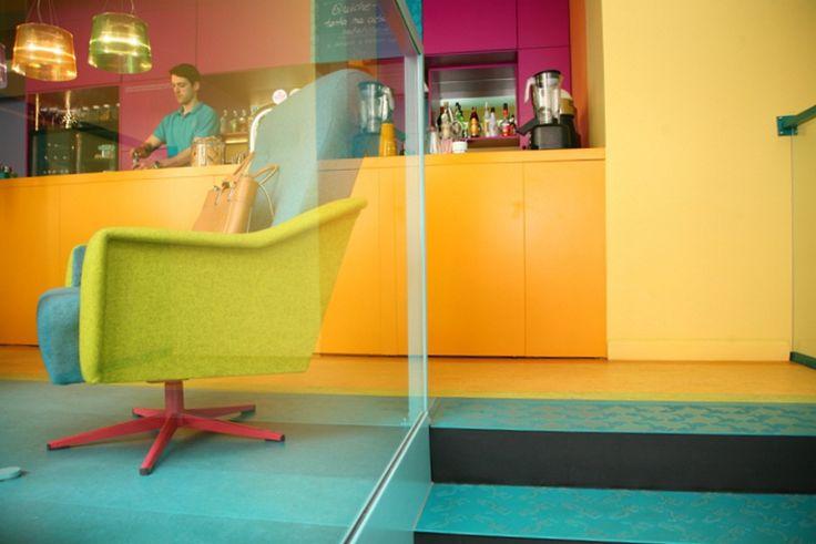 kolorama + bloogarden colorfully highlight cafein bistro interior