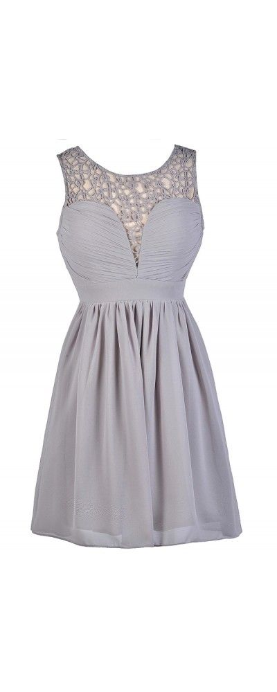Lily Boutique Net Work A-Line Dress in Grey, $38  www.lilyboutique.com