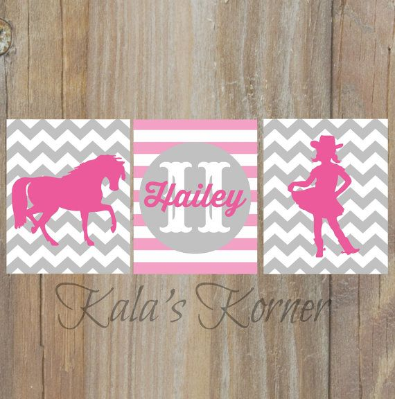 cowgirl nursery, horse nursery, pink gray chevron nursery wall art  by KalasKorner, $27.00